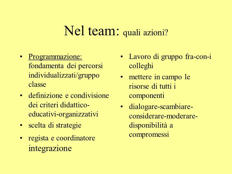 Nel team: quali azioni Programmazione: fondamenta dei percorsi individualizzati/gruppo classe.