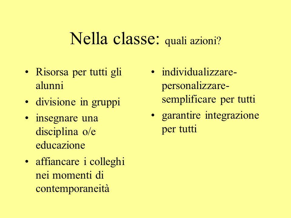 Nella classe: quali azioni