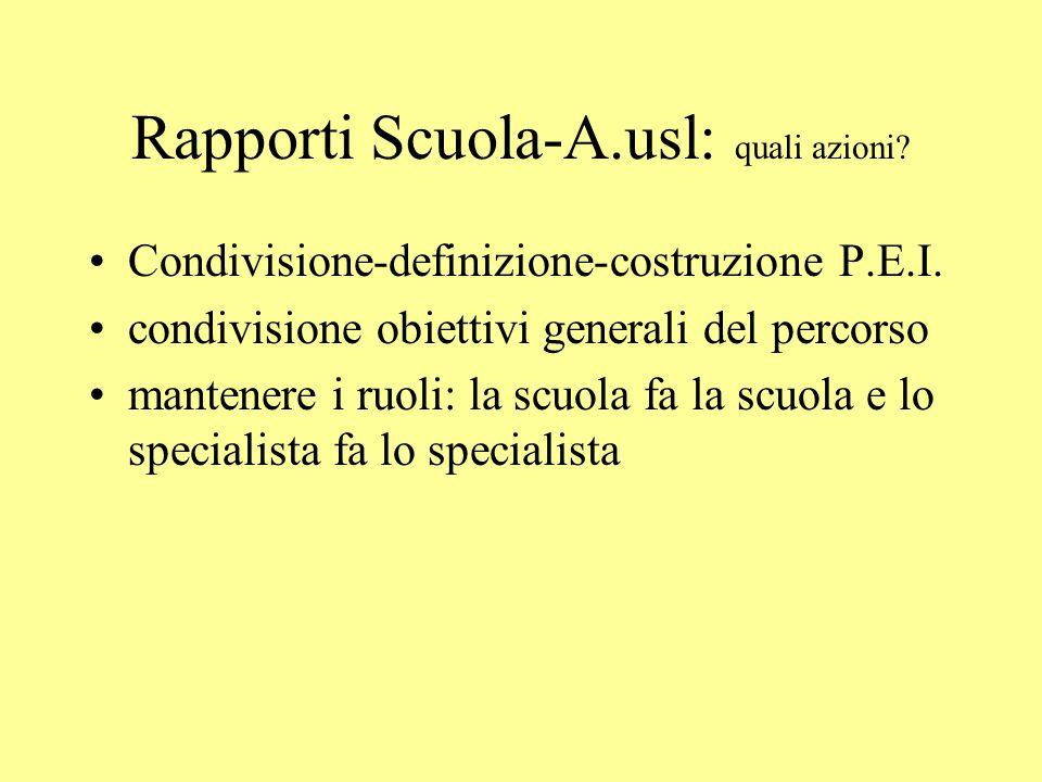 Rapporti Scuola-A.usl: quali azioni
