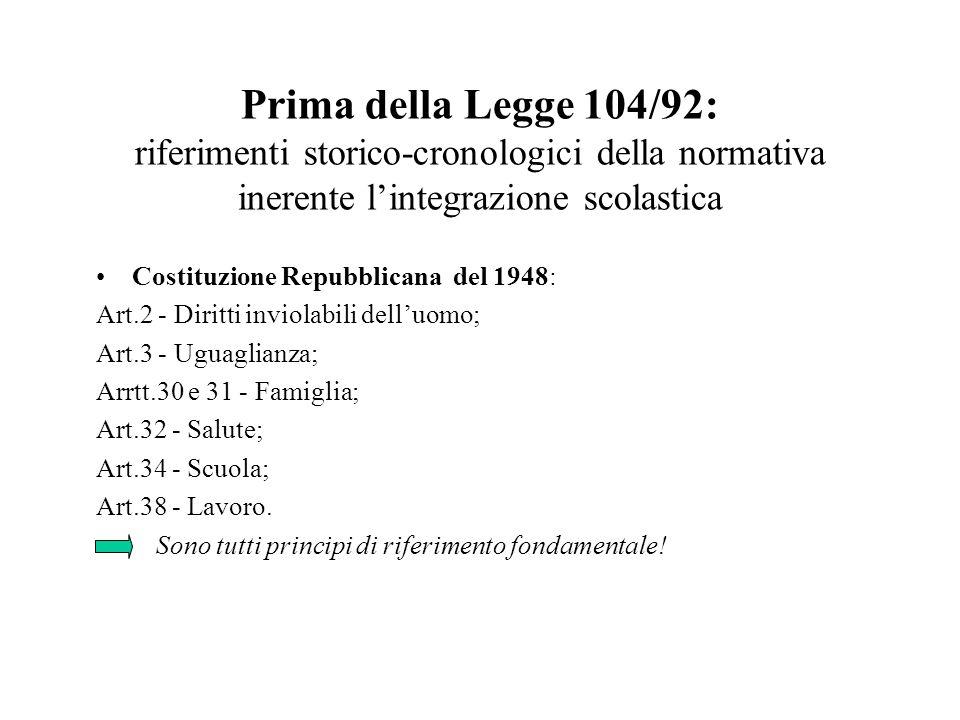 Prima della Legge 104/92: riferimenti storico-cronologici della normativa inerente l'integrazione scolastica
