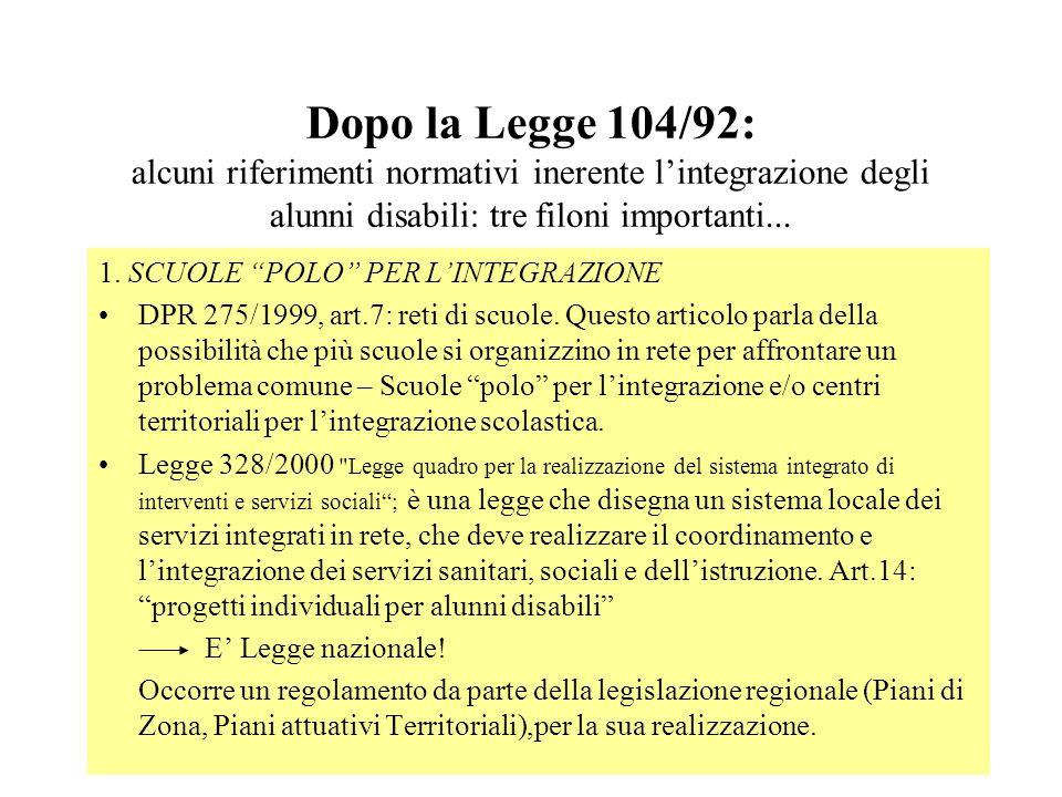 Dopo la Legge 104/92: alcuni riferimenti normativi inerente l'integrazione degli alunni disabili: tre filoni importanti...