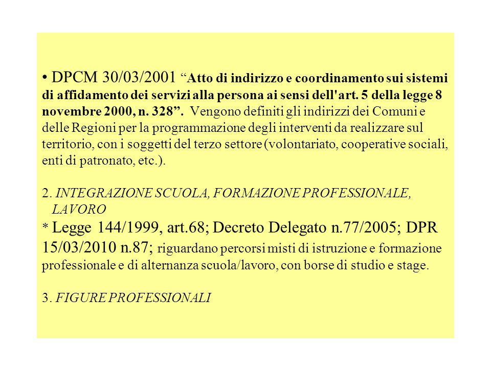 DPCM 30/03/2001 Atto di indirizzo e coordinamento sui sistemi di affidamento dei servizi alla persona ai sensi dell art.