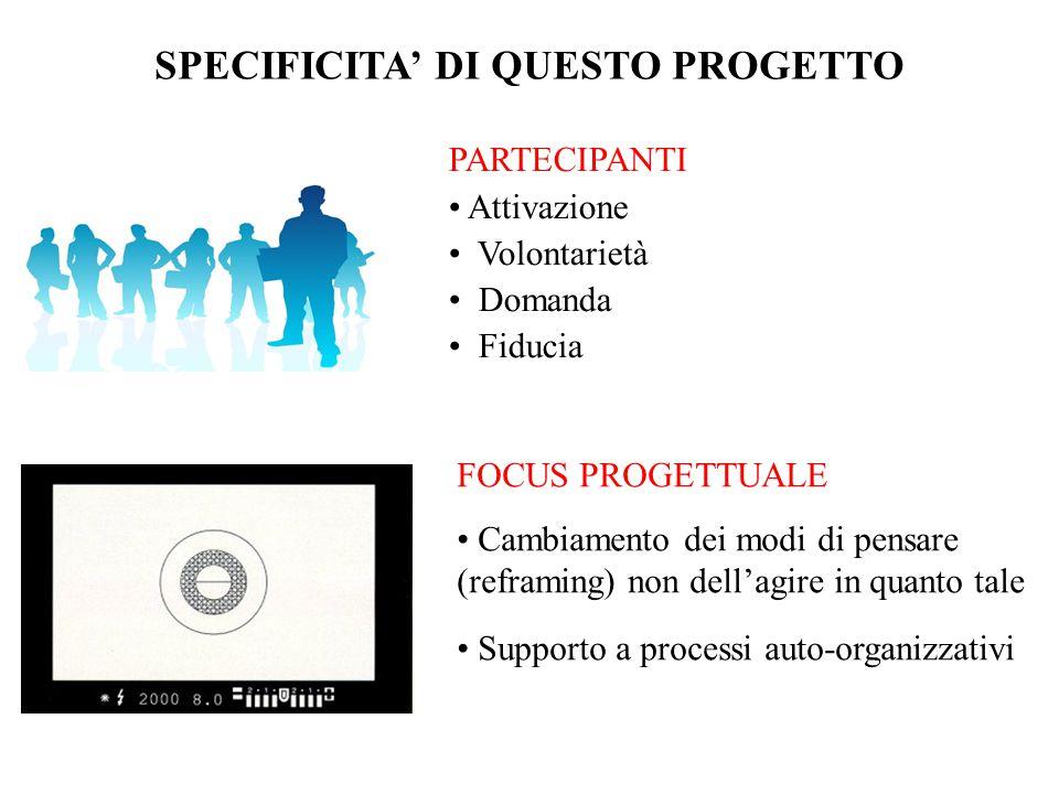 SPECIFICITA' DI QUESTO PROGETTO
