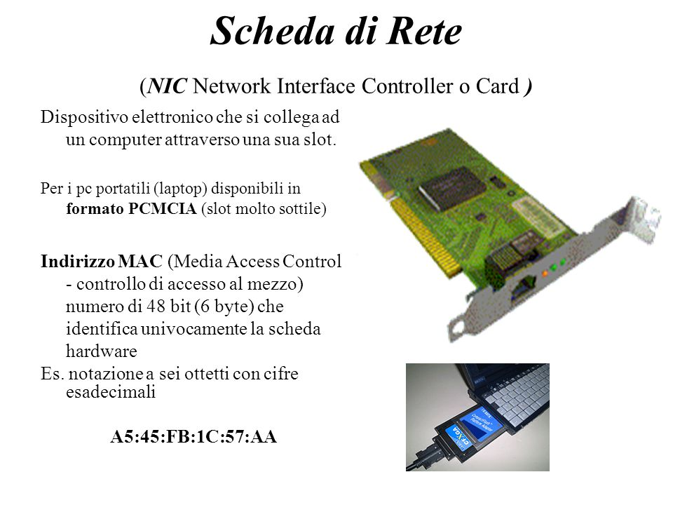 Scheda di Rete (NIC Network Interface Controller o Card )
