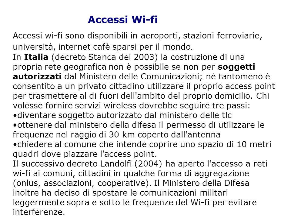 Accessi Wi-fi Accessi wi-fi sono disponibili in aeroporti, stazioni ferroviarie, università, internet cafè sparsi per il mondo.