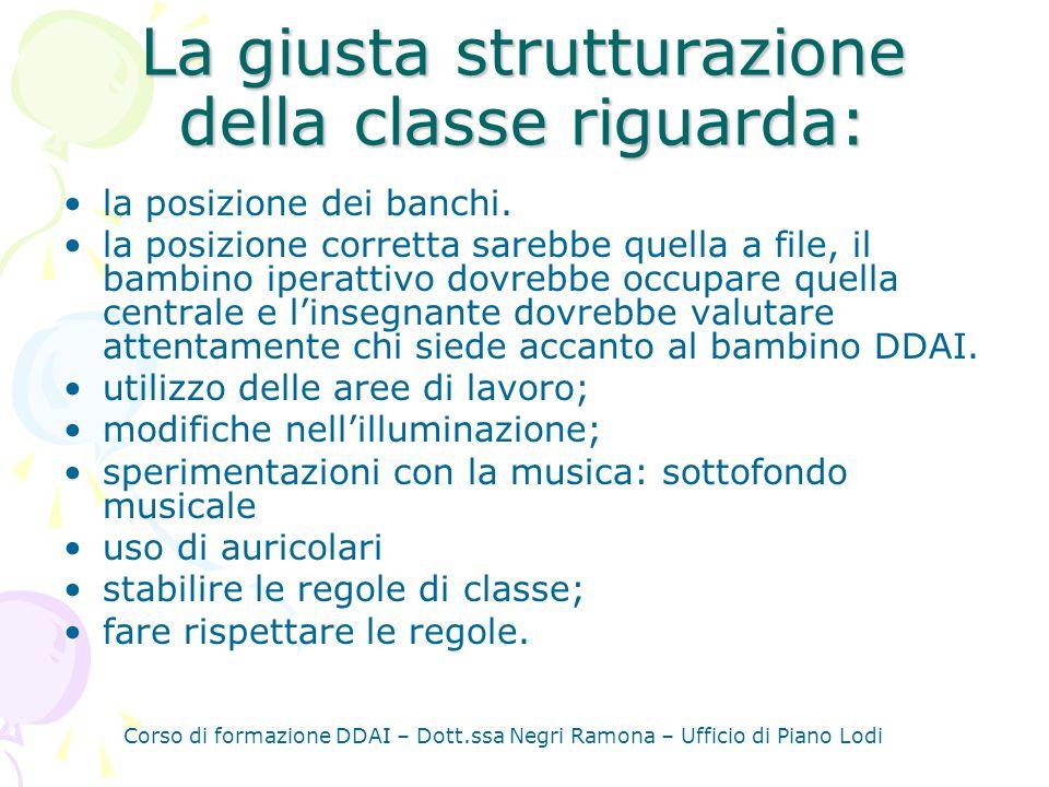 La giusta strutturazione della classe riguarda:
