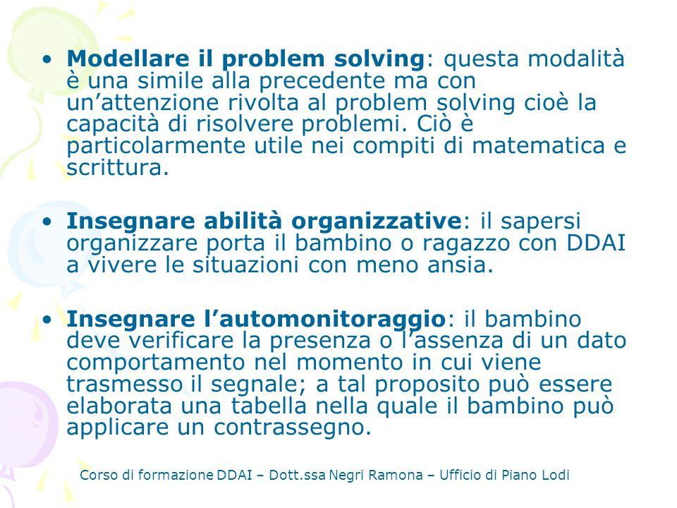 Modellare il problem solving: questa modalità è una simile alla precedente ma con un'attenzione rivolta al problem solving cioè la capacità di risolvere problemi. Ciò è particolarmente utile nei compiti di matematica e scrittura.