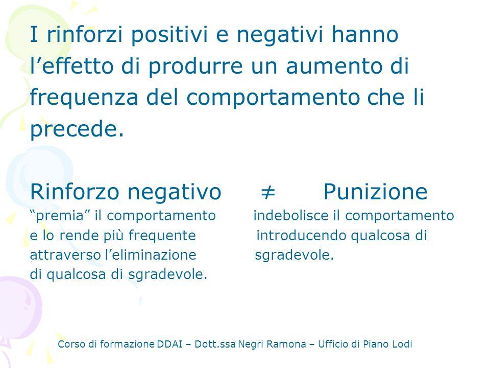 I rinforzi positivi e negativi hanno
