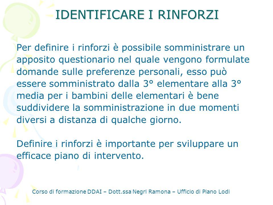 IDENTIFICARE I RINFORZI