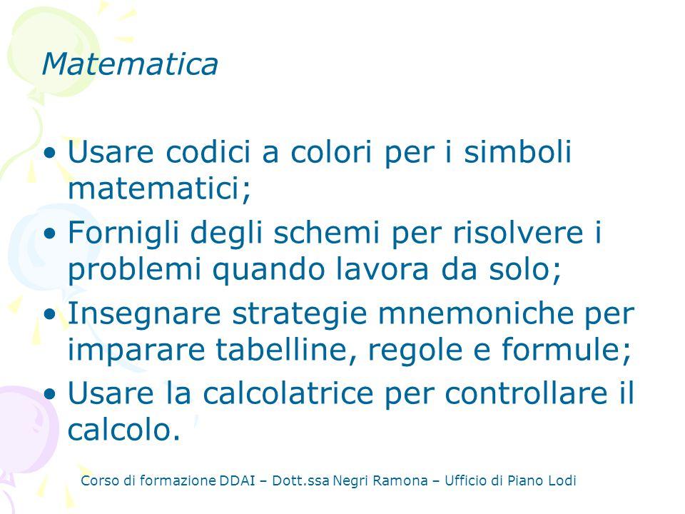 Usare codici a colori per i simboli matematici;