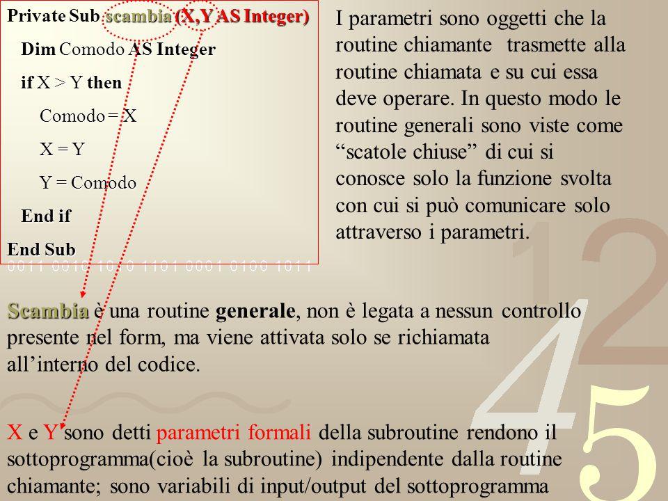 Private Sub scambia (X,Y AS Integer)