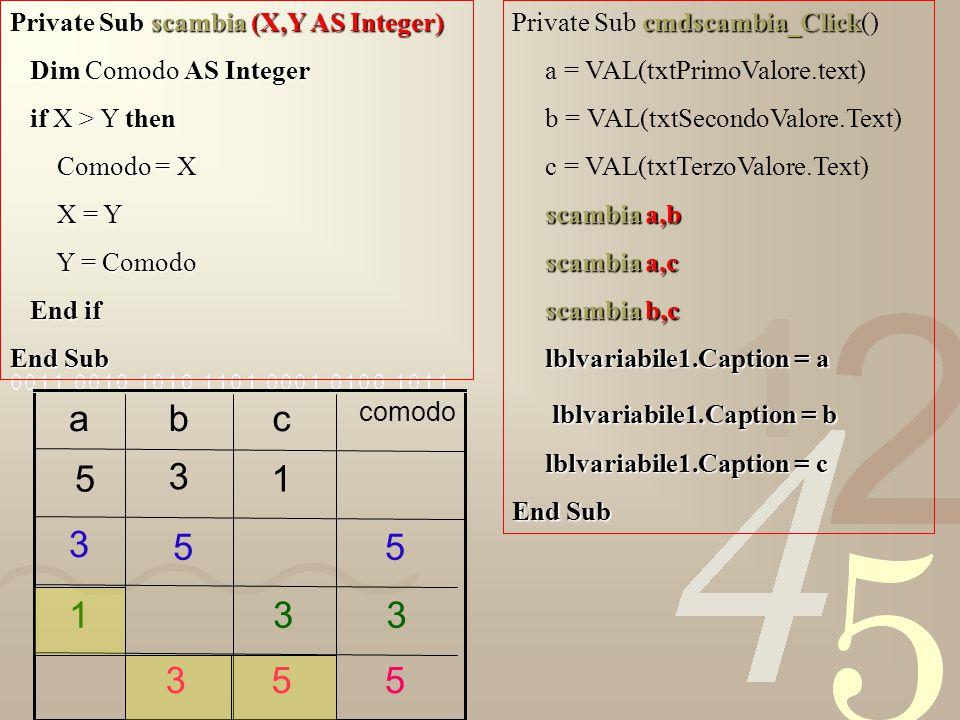 a b c 5 3 1 3 5 5 1 3 3 3 5 5 lblvariabile1.Caption = b