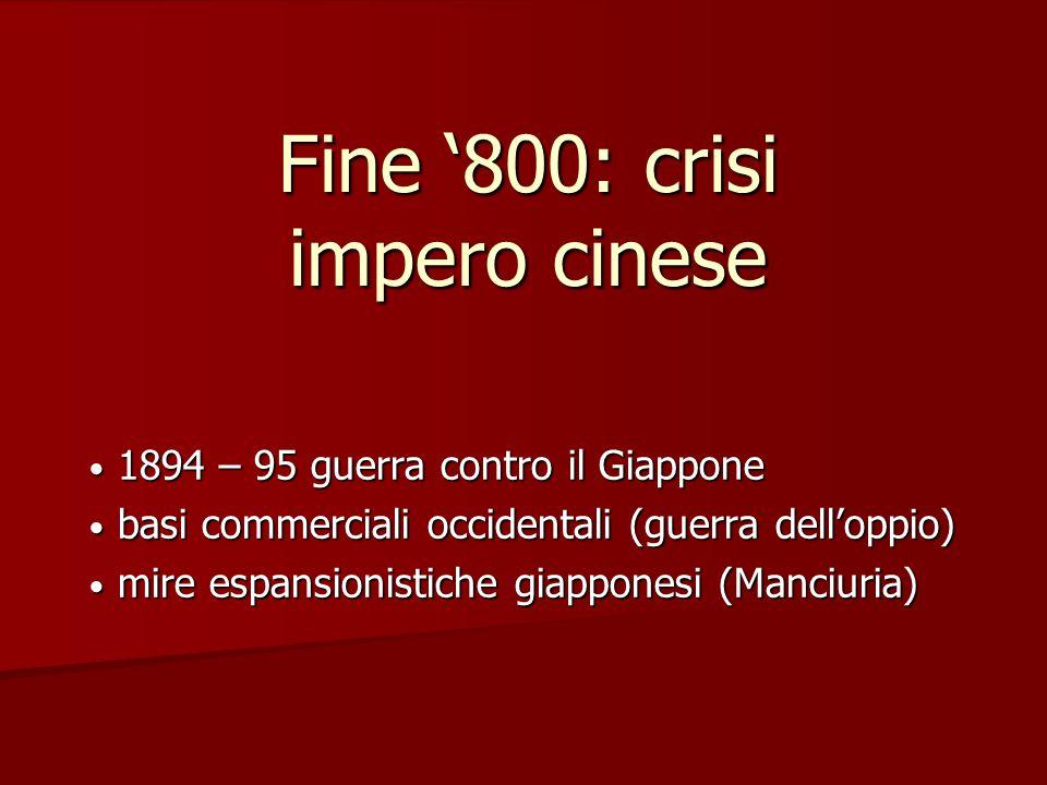 Fine '800: crisi impero cinese