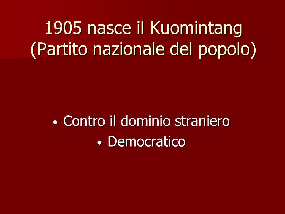 1905 nasce il Kuomintang (Partito nazionale del popolo)