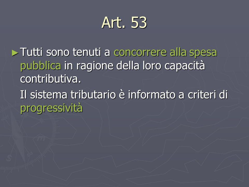 Art. 53 Tutti sono tenuti a concorrere alla spesa pubblica in ragione della loro capacità contributiva.