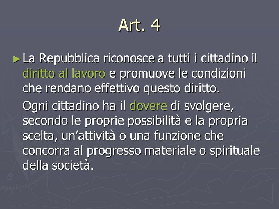 Art. 4 La Repubblica riconosce a tutti i cittadino il diritto al lavoro e promuove le condizioni che rendano effettivo questo diritto.