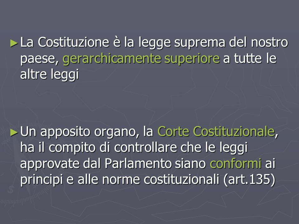 La Costituzione è la legge suprema del nostro paese, gerarchicamente superiore a tutte le altre leggi