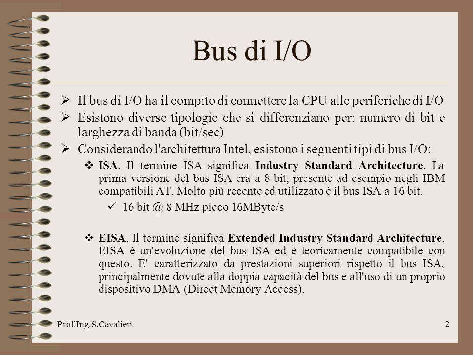Bus di I/O Il bus di I/O ha il compito di connettere la CPU alle periferiche di I/O.