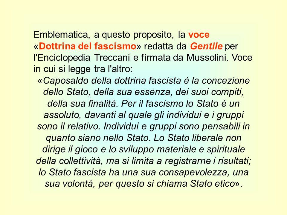 Emblematica, a questo proposito, la voce «Dottrina del fascismo» redatta da Gentile per l Enciclopedia Treccani e firmata da Mussolini. Voce in cui si legge tra l altro: