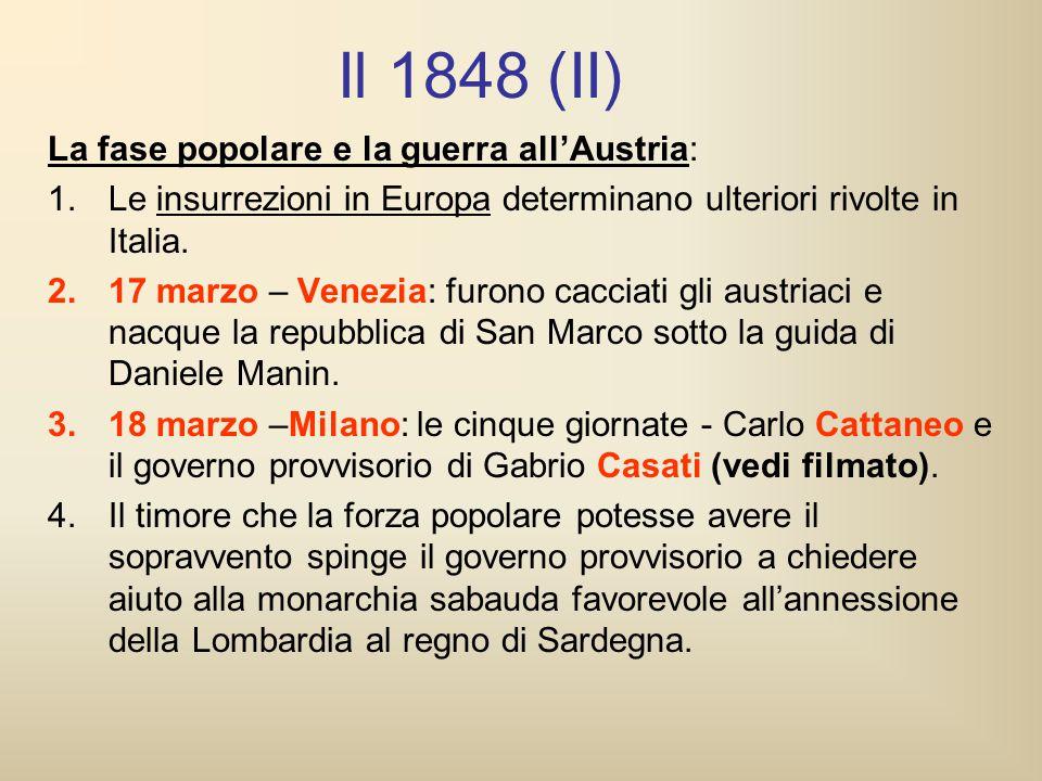 Il 1848 (II) La fase popolare e la guerra all'Austria:
