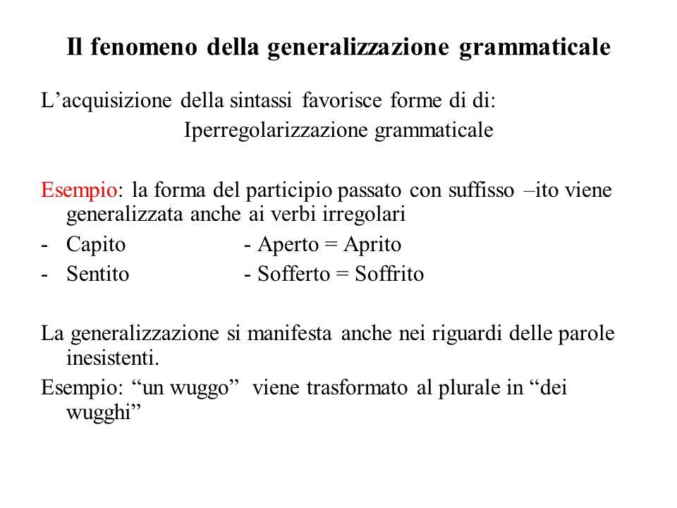 Il fenomeno della generalizzazione grammaticale