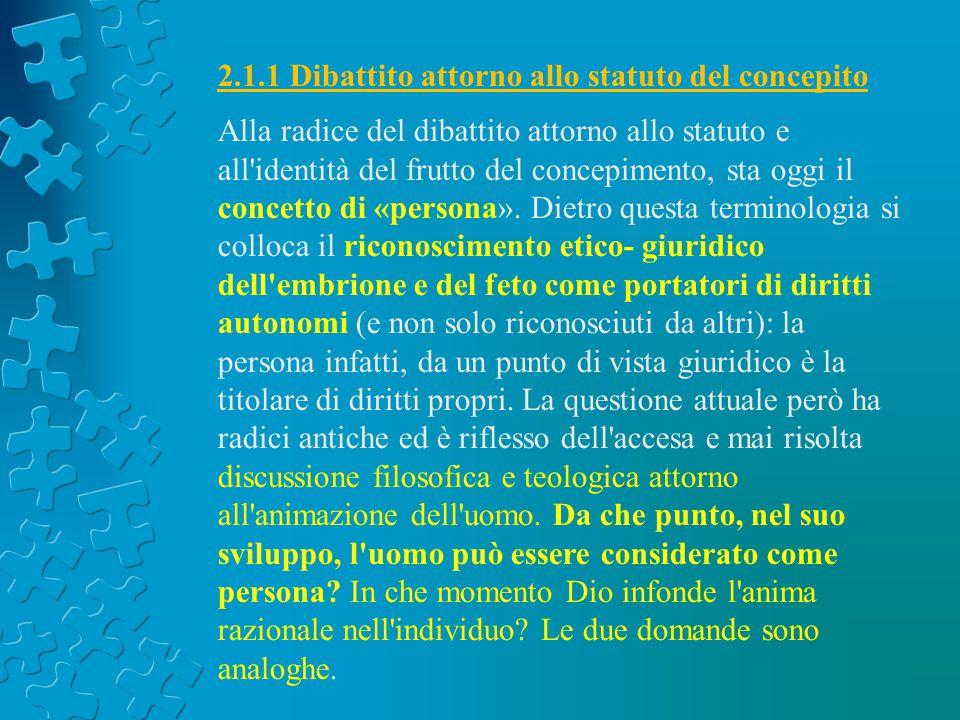 2.1.1 Dibattito attorno allo statuto del concepito