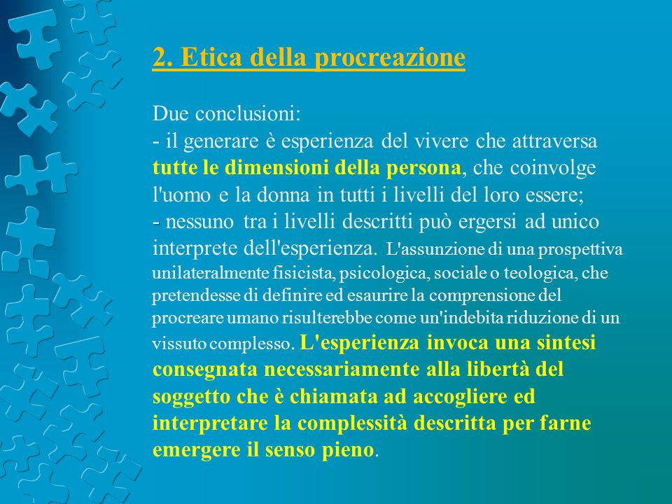 2. Etica della procreazione