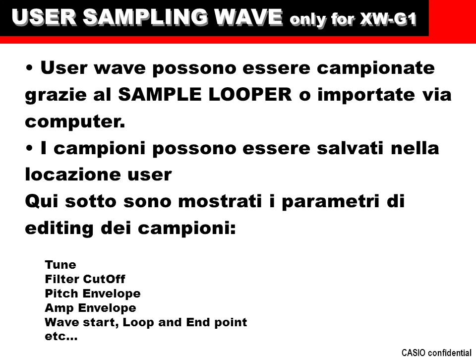 USER SAMPLING WAVE only for XW-G1