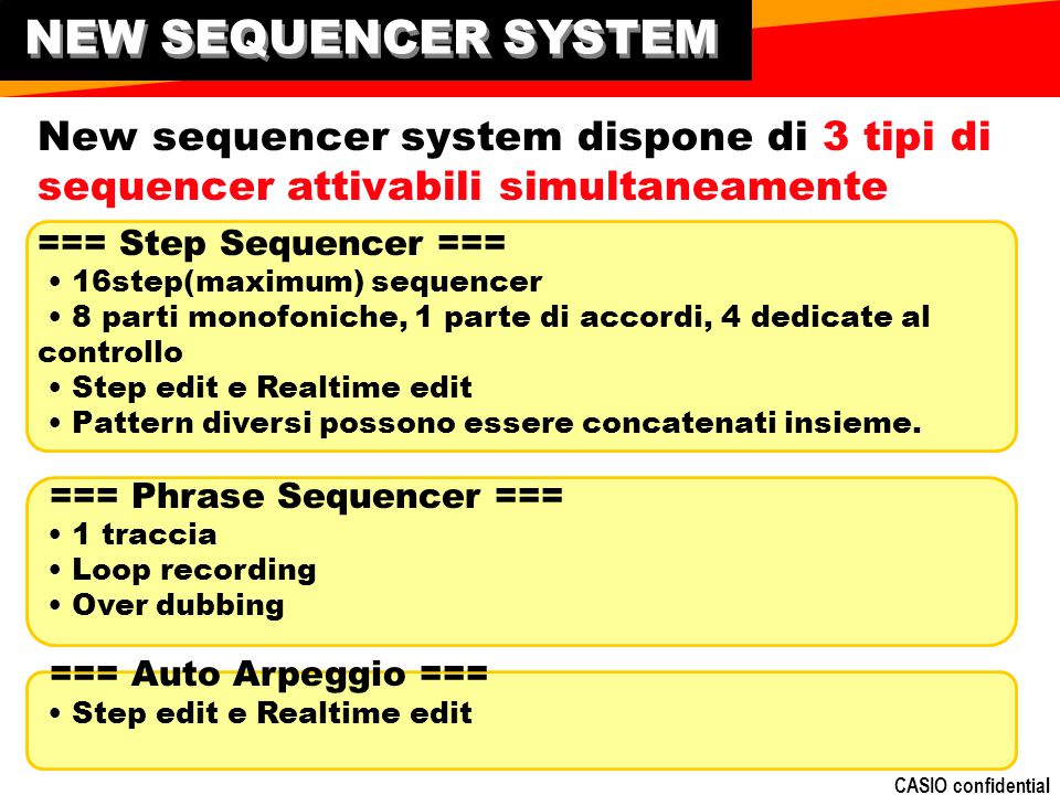 NEW SEQUENCER SYSTEM New sequencer system dispone di 3 tipi di sequencer attivabili simultaneamente.