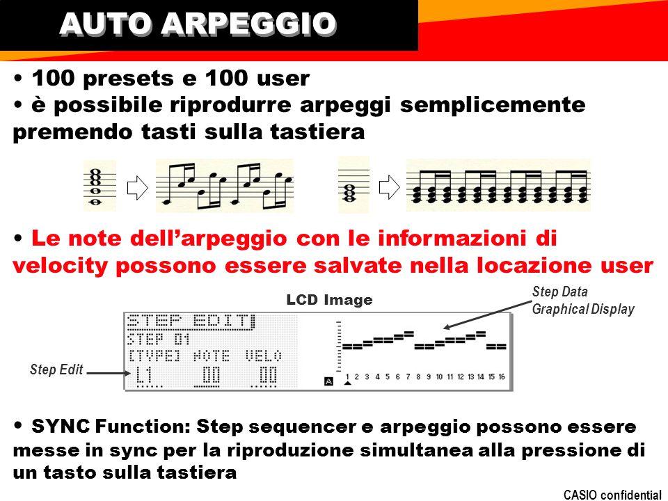 AUTO ARPEGGIO • 100 presets e 100 user