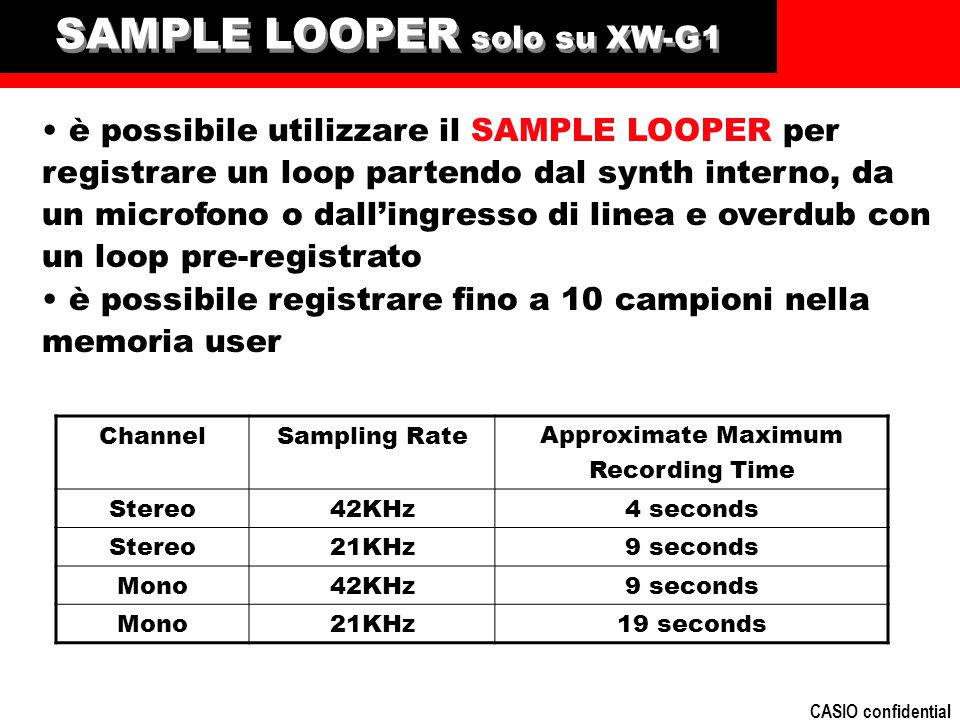 SAMPLE LOOPER solo su XW-G1