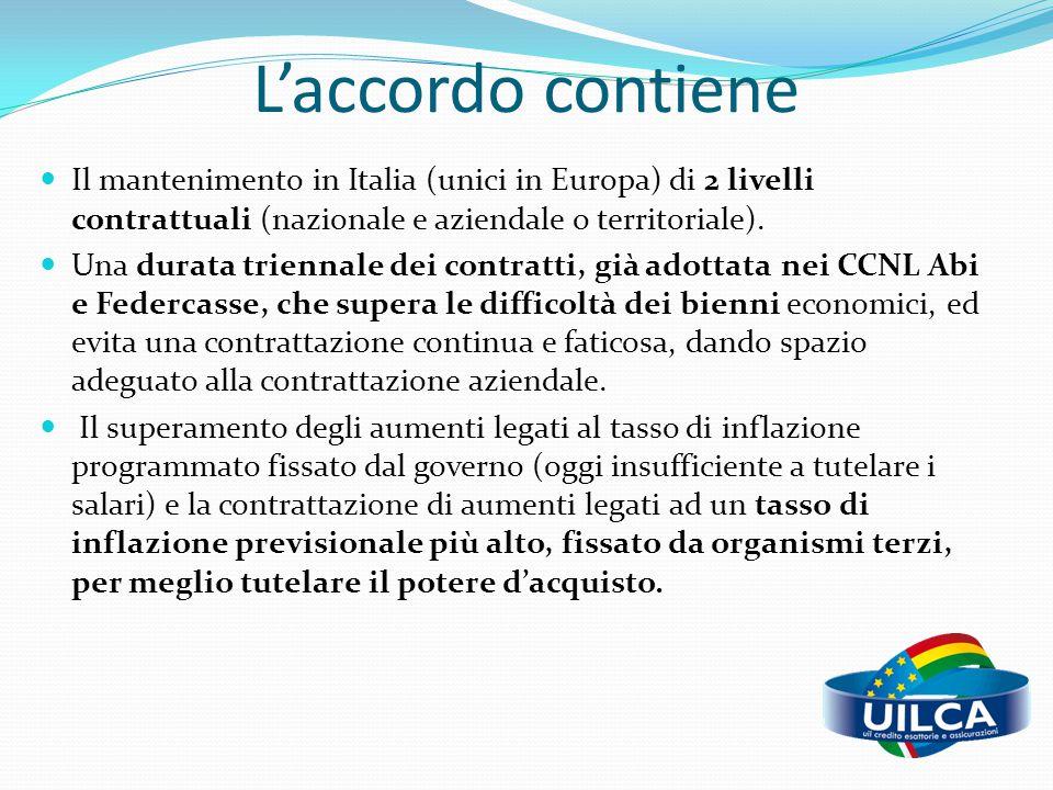 L'accordo contiene Il mantenimento in Italia (unici in Europa) di 2 livelli contrattuali (nazionale e aziendale o territoriale).