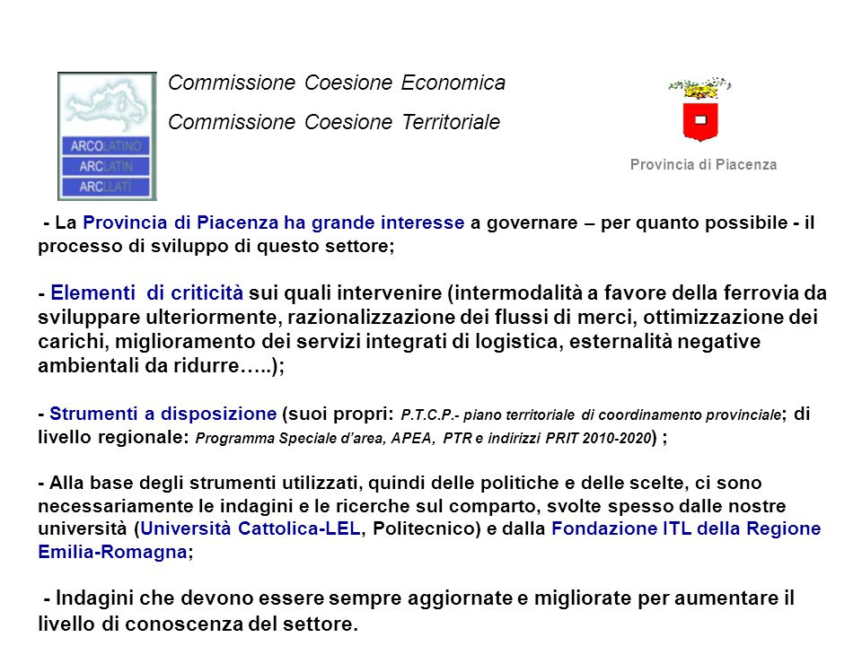 Commissione Coesione Economica Commissione Coesione Territoriale