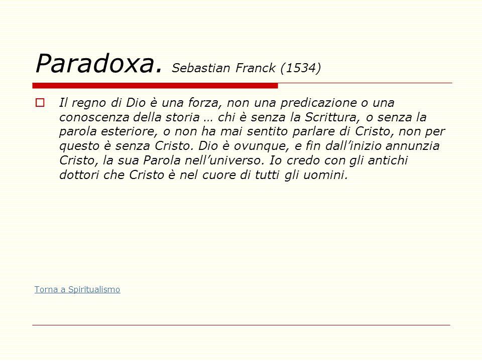 Paradoxa. Sebastian Franck (1534)