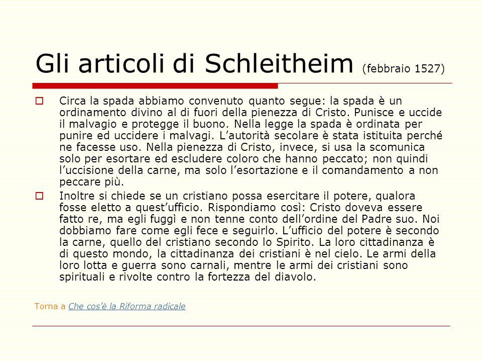 Gli articoli di Schleitheim (febbraio 1527)