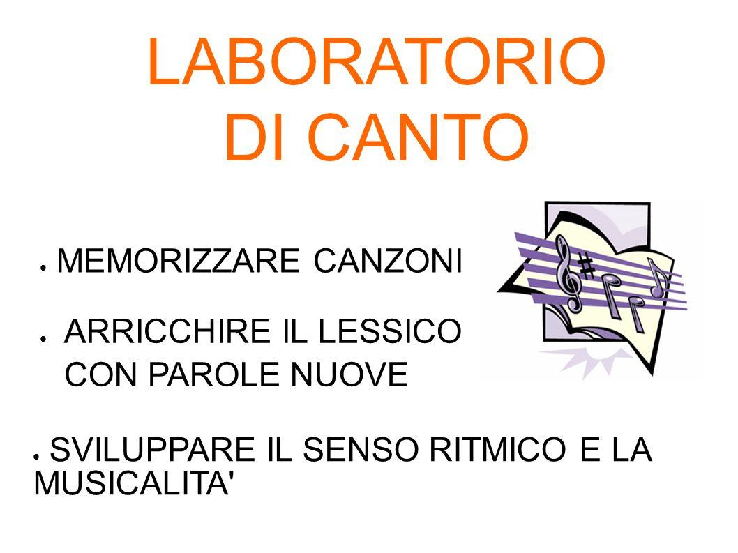 LABORATORIO DI CANTO MEMORIZZARE CANZONI
