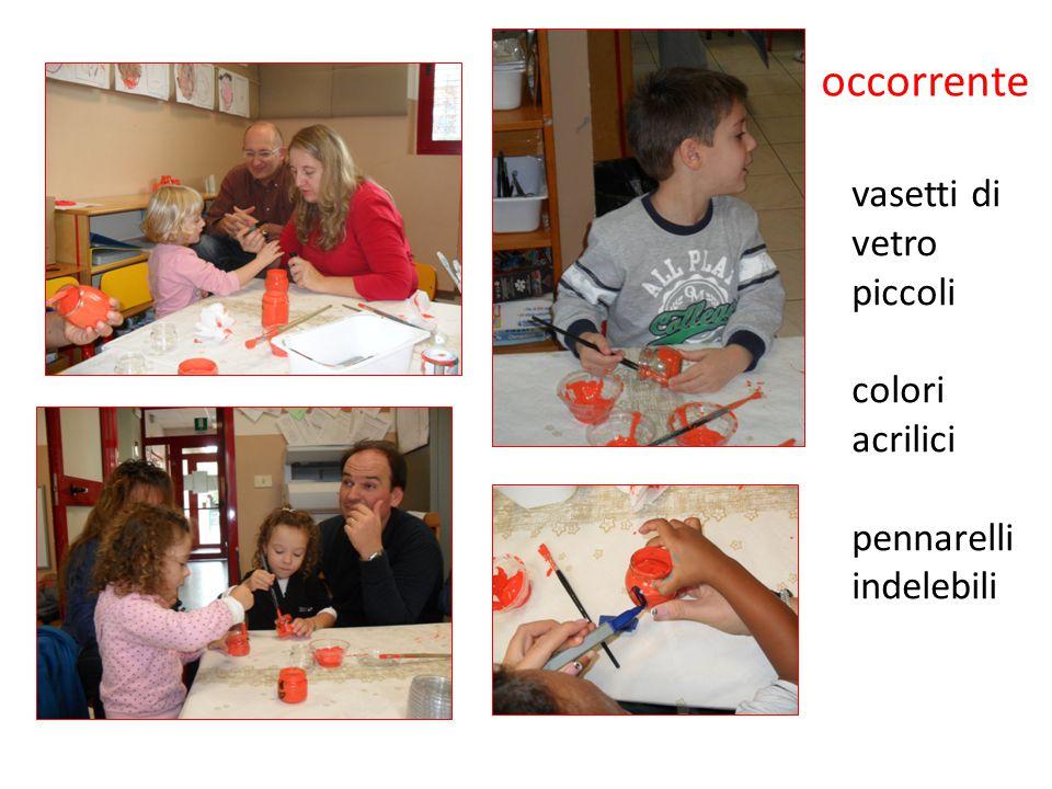 occorrente vasetti di vetro piccoli colori acrilici pennarelli