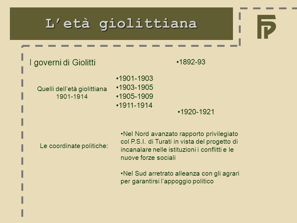 L'età giolittiana I governi di Giolitti 1892-93 1901-1903 1903-1905