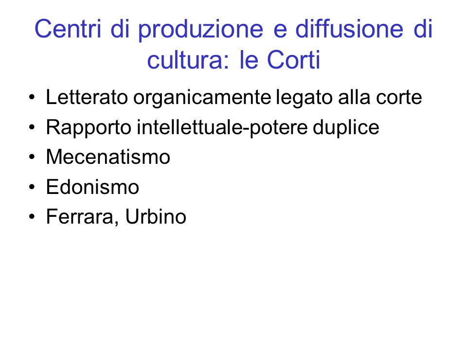 Centri di produzione e diffusione di cultura: le Corti