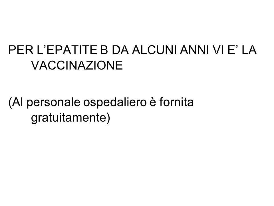 PER L'EPATITE B DA ALCUNI ANNI VI E' LA VACCINAZIONE