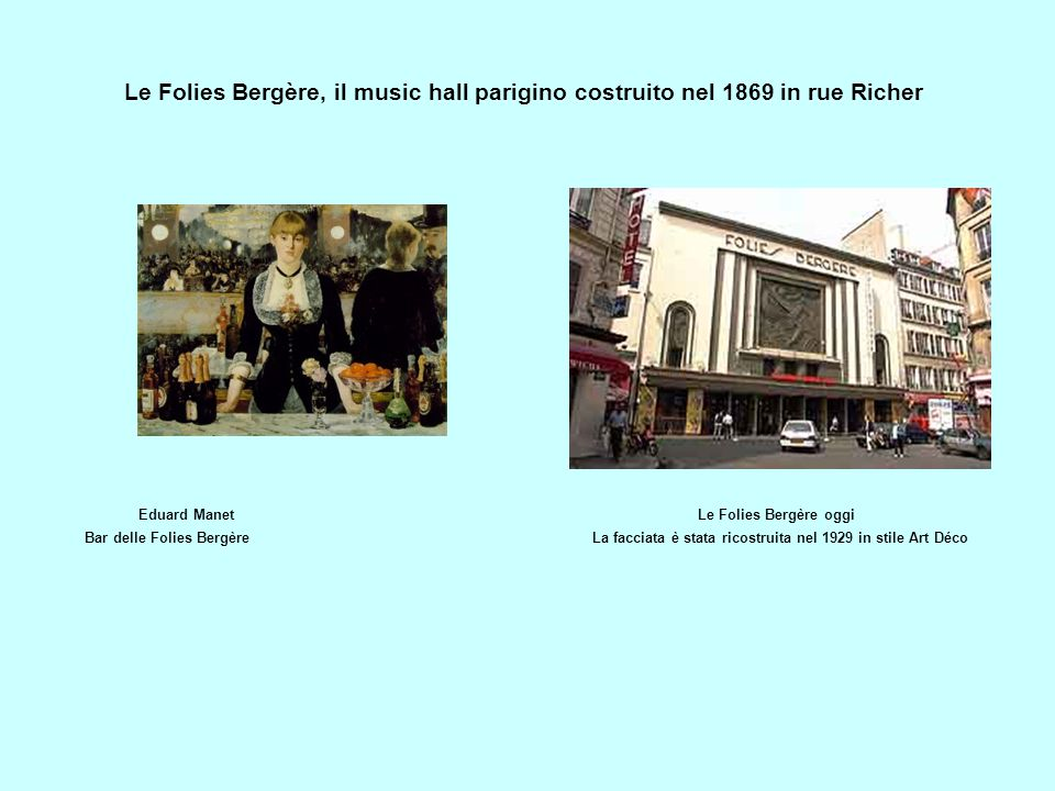 Le Folies Bergère, il music hall parigino costruito nel 1869 in rue Richer