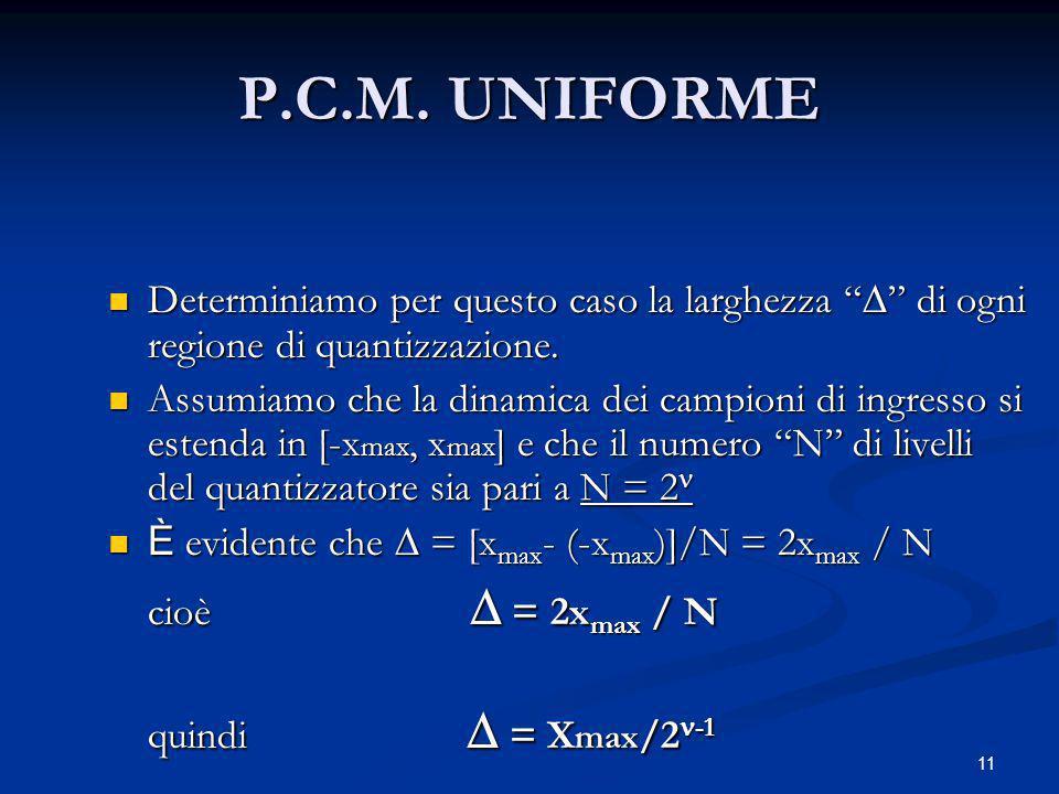 P.C.M. UNIFORME Determiniamo per questo caso la larghezza  di ogni regione di quantizzazione.