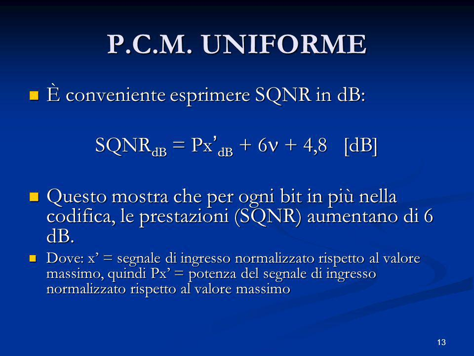 P.C.M. UNIFORME È conveniente esprimere SQNR in dB: