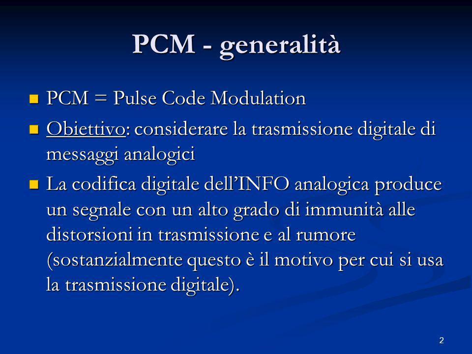 PCM - generalità PCM = Pulse Code Modulation