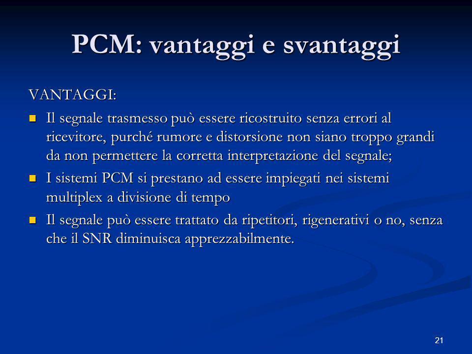 PCM: vantaggi e svantaggi