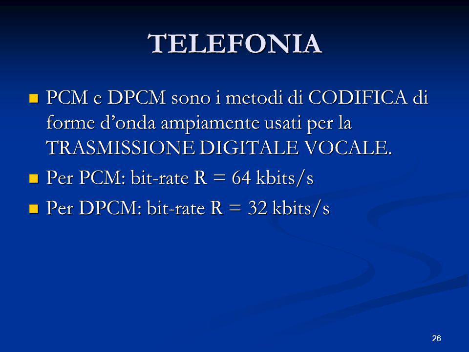 TELEFONIA PCM e DPCM sono i metodi di CODIFICA di forme d'onda ampiamente usati per la TRASMISSIONE DIGITALE VOCALE.