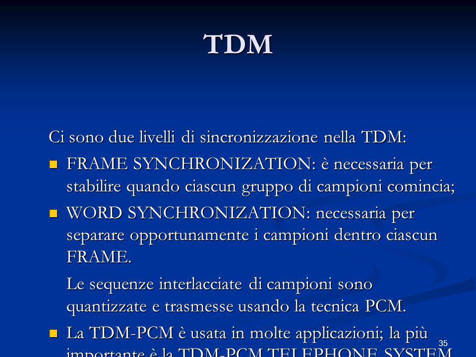 TDM Ci sono due livelli di sincronizzazione nella TDM: