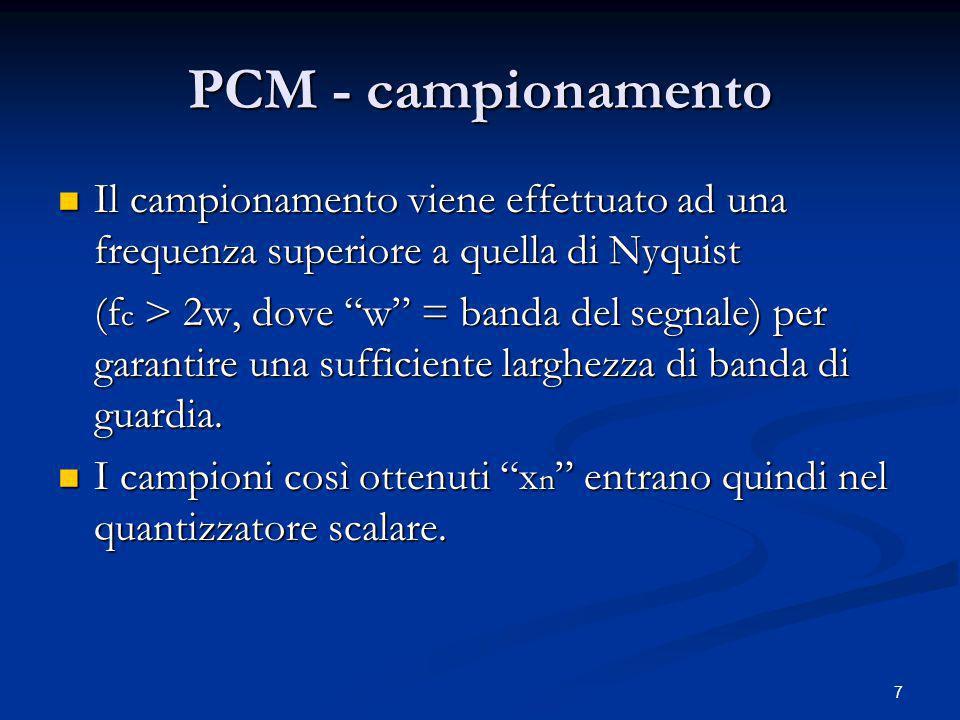 PCM - campionamento Il campionamento viene effettuato ad una frequenza superiore a quella di Nyquist.