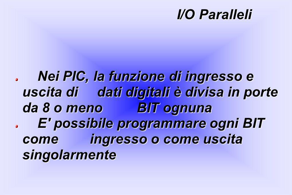 I/O Paralleli Nei PIC, la funzione di ingresso e uscita di dati digitali è divisa in porte da 8 o meno BIT ognuna.