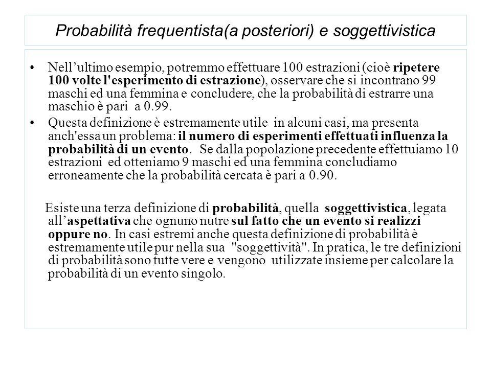 Probabilità frequentista(a posteriori) e soggettivistica